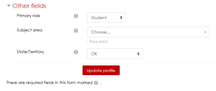 New Required Profile Fields